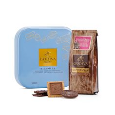 Elevate the daily coffee break with Godiva Breakfast Blend Coffee and Luxury Chocolate Biscuits Tin.