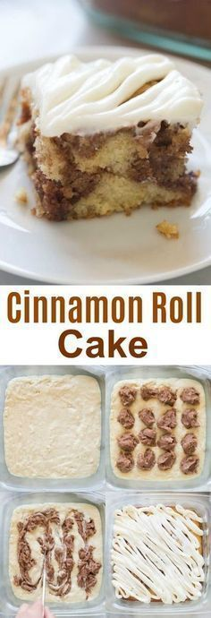 Light and tender cinnamon roll cake with cream cheese frosting. All of the flavo… Light and tender cinnamon roll cake with cream cheese frosting. All of the flavors I love from a cinnamon roll, in a delicious, easy cake recipe. Easy Cake Recipes, Easy Desserts, Sweet Recipes, Baking Recipes, Dessert Recipes, Frosting Recipes, Brunch Recipes, Easy Desert Recipes, Baking Pan