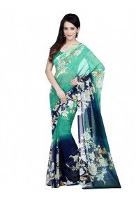 Shonaya Green & Blue Color Georgette Printed Saree With Unstitched Blouse Piece