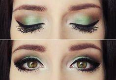 green ando brown eyeshadow Makeup - Maquilaje verde y cafe para ojos verdes ♛