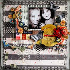 Rachael Funnel - love the black & white with the pop of colored embellies!!!