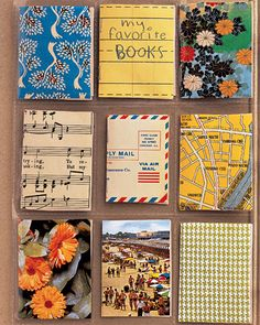 <<<>>>  <18 of 24 >  Pocket Books  Items such as postcards, wrapping paper, and magazines make unique covers; kids can fold them over white paper so there's a place to write. Staple in center. Clear-plastic pocketed sheets, made for baseball cards, will protect and show off each book.