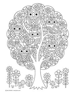 Notebook Doodles Super Cute: Coloring & Activity Book: Jess images ideas from NEO Coloring Pages Owl Coloring Pages, Tree Coloring Page, Coloring Pages For Grown Ups, Printable Coloring Pages, Free Coloring, Coloring Sheets, Coloring Books, Color Activities, Colorful Drawings