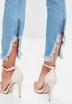 Missguided - Blue Anarchy Zipped Hem Skinny Jeans