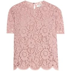 Valentino Lace Top (12.880 HRK) ❤ liked on Polyvore featuring tops, pink, pink lace top, pink top, lacy tops and lace top
