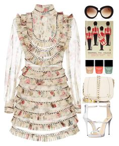 """Zimmerman dress for the races"" by thestyleartisan ❤ liked on Polyvore featuring Jérôme Dreyfuss, Zimmermann, Butter London, Valentino and Giuseppe Zanotti"