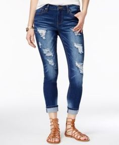 Rampage Juniors' Sophie Ripped Skinny Ankle Jeans - Blue 13