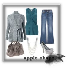 """""""apple shape"""" by mamavisca on Polyvore Cardigan and bootleg jeans"""