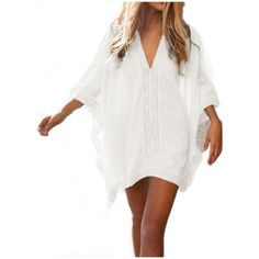 Women's Womens Solid Oversized Beach Cover Up Bathing Suit Beach Dress ($14) ❤ liked on Polyvore featuring swimwear, cover-ups, white, bathing suit cover ups, cover up bathing suits, swimsuit swimwear, white swimwear and bathing suit cover up