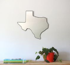 Texas Mirror / Wall Mirror State Outline Silhouette by fluxglass, $145.00