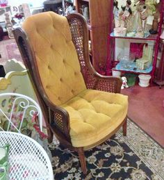 Vintage 1960's chair; Lewittes wing back chair; mid-century chair; cane chair; wingback; Lewittes high back; Lewittes cane wing back