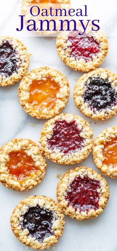 Oatmeal Jammys are crisp, tender, buttery tart-like cookies filled with your favorite jam and a sprinkle of streusel around the edges A unique and delicious tart-like oatmeal cookie filled with jam. Köstliche Desserts, Delicious Desserts, Dessert Recipes, Yummy Food, Plated Desserts, Drink Recipes, Fall Cookie Recipes, Cake Recipes, Salad Recipes