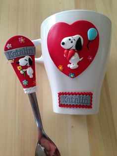 Snoopy polymer clay spoon & mug