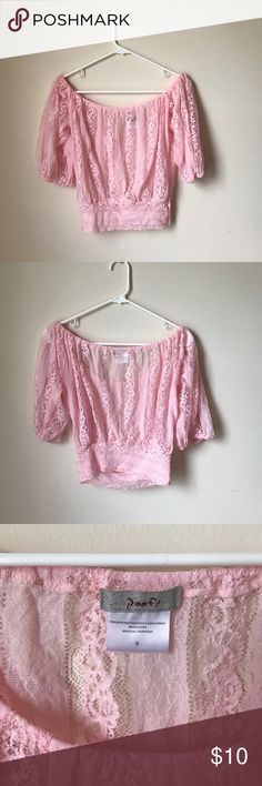 Pink Lace Crop Top Like new, size small pink off the shoulder crop top with lace all over. 90% nylon 10% spandex Poof! Tops Crop Tops
