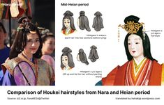 Japanese Hairstyle Traditional, Traditional Dresses, Heian Era, Heian Period, Chinese Fashion, Chinese Style, Hair Without Part, Japanese Landscape, Dollhouse Ideas