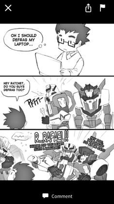Transformers Prime: Spoofs and Bloopers - No Bumblebee Transformers, Transformers Memes, Rescue Bots, Ratchet, Animal Design, Funny Comics, Just In Case, Anime, Geek Stuff