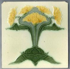 Art Nouveau Majolica - 1890 to 1910 - Ceramic Tile