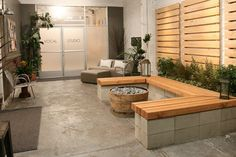 build concrete block wood bench seating - Google Search