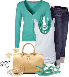 """""""Turquoise & Gold"""" by s-p-j ❤ liked on Polyvore"""