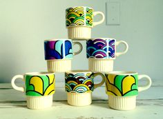 Vintage Art Deco Coffee Mugs  Set of Six by luckyporcupine on Etsy, $35.00