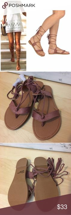 Mauve Lace Up Sandals Mauve Lace up flat sandals. So cute comfy for spring/ summer. Pair them with jeans, shorts, skirts or even your swim suit! Lulupie Shoes Sandals