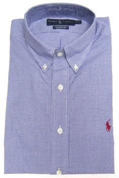 """Ralph Lauren Men's """"Classics"""" Button-down Dress Shirt in Blue and White Tiny Check, Red Pony (CLASSIC FIT)"""