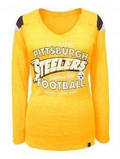 Pittsburgh Steelers Women s Fade Established Gold Longsleeve Tri-Blend Tee  - Official b732b8e54