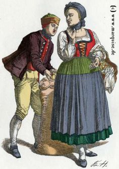 Farmer and maid in Straßburg (Strasbourg), c. 1800. Strasbourg is in the Alsace region in eastern France, near the border with Germany.  Women -- Clothing & dress -- France -- 1700-1799 or 1800-1899.  French, late 18th century or early 19th century.