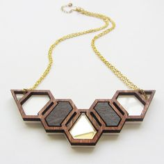 Geo-hive necklace by workingclasp on Etsy