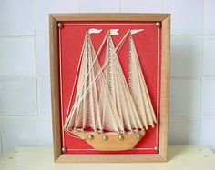 Unique Vintage SAILBOAT YACHT Picture Wall Hanging by jeanholly, $15.00
