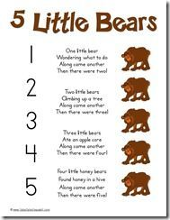5 little bears poem preschool music, preschool themes, bear activities preschool, bear theme Bears Preschool, Preschool Music, Preschool Activities, Number Songs Preschool, Fingerplays For Preschoolers, Winter Songs For Preschool, Preschool Camping Theme, November Preschool Themes, Rhyming Preschool