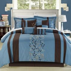 Chic Home Roma 8 Piece Comforter Set Size: King, Color: Blue Guest Bedrooms, Bedroom Sets, Bedroom Decor, Master Bedroom, King Bedroom, Master Suite, Best Bedding Sets, Queen Comforter Sets, Bed In A Bag