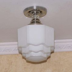 961 Vintage 30's Ceiling Light Lamp Fixture Glass bath hall porch Re-Wired #MadeInUSA