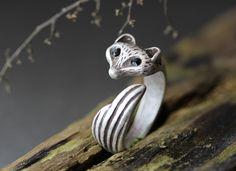 Fox Ring Women's Girl's Retro Burnished Animal Ring Jewelry 7.5US size Wrap Ring #Authfashion #Band