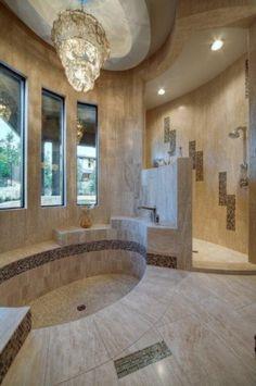 Amazing bathroom... Sunken bath tub and beautiful walk in shower. Perfect for master bath.