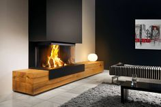 Heat Pure 90 Wood Fireplace sides) with wooden extensions. Home Fireplace, Modern Fireplace, Living Room With Fireplace, Fireplace Design, Home Living Room, Foyer Decorating, Great Rooms, New Homes, Foyer Au Gaz