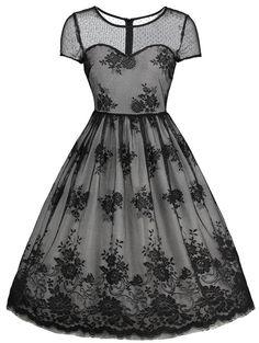 #RoseGal - #Rosewholesale Floral Lace Vintage Overlay Dress - AdoreWe.com