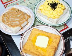Famous #HongKong toast (French toast, peanut butter & condensed milk, toast w/ eggs & black truffle) via @GNineThree