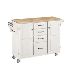 Home Styles Large Create-a-Cart in White with Natural Wood Top-9100-1021 at The Home Depot