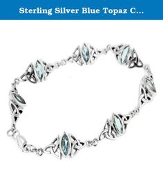"""Sterling Silver Blue Topaz Celtic Trinity Knot Bracelet 7"""". Celtic triquetra knots frame marquise shaped genuine faceted blue topaz stones (4x8mm) - It closes with a lobster claw clasp and is crafted of nickel-free sterling silver and marked 925."""
