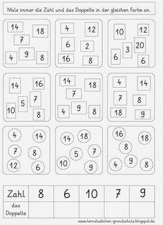Mengen erfassen, zählen, verliebte Zahlen, verdoppeln, addieren ...