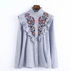 d3c1a309401 2017 Ruffles Floral Embroidery Women Blouses Long Sleeve Stand Collar  Elegant Blue Striped Ladies Shirts Brand