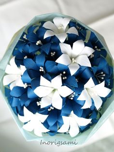 Origami Flower Art  Bouquet / Mini Royal Blue Lily & by Inorigami