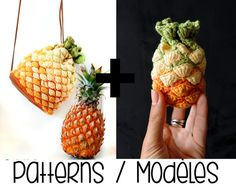 PDF PATTERN : Pineapple bag AND purse bundle crochet by Ahookashop