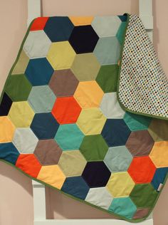 Baby QUILT modern hipster by PETUNIAS - heirloom vintge style hexagon blanket nursery decor vintage newborn shower gift room crib bedding