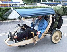 Frame plywood recumbent trike A recumbent with the roof