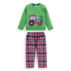 These gorgeous pyjamas are bound to make little ones excited for bedtime. With fabulous tractor applique and contrast check to the bottoms, our Tractor Mix & Match Pyjamas are lots of fun to wear. Made from super soft and cosy cotton, these pyjamas are ge Pyjamas, Pjs, Tractors For Kids, Checked Trousers, Toddler Boy Fashion, Mix Match, Nightwear, Christmas Sweaters, Long Sleeve