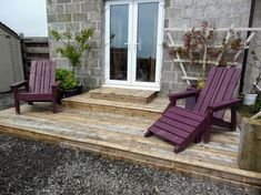 I finally got round to building the new deck on the back garden - with the help of Mr TG of course. I'm guessing it would have been less has. Pallet Furniture, Outdoor Furniture, Outdoor Decor, Wooden Planters, Composite Decking, Outdoor Flooring, Outdoor Sheds, Wooden Pallets, Porch Swing