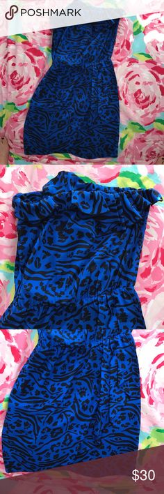 Amanda Uprichard Strapless Dress - S Beautiful cobalt & black silk strapless dress! Never worn! Amanda Uprichard Dresses
