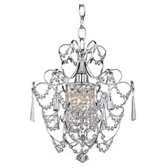 $75  Illuminate your dining room or foyer with this elegant chandelier, showcasing crystal accents and a chrome finish.  Product: Cha...